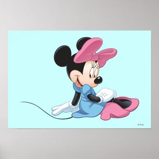Minnie Mouse que sienta el vestido azul Poster