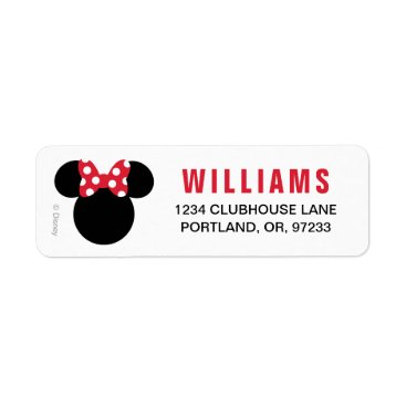 Disney Themed Minnie Mouse | Red and White Birthday Label