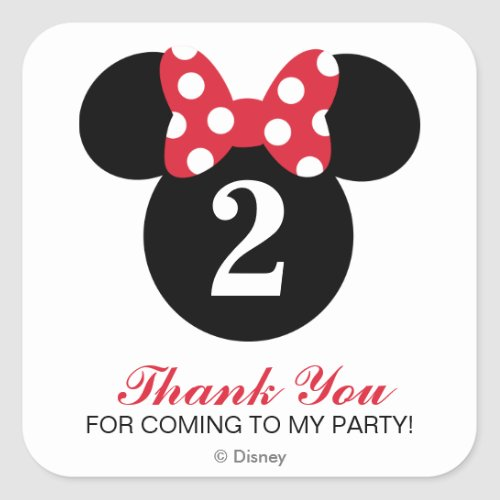 Minnie Mouse  Red  White Birthday Thank You Square Sticker