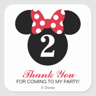 Minnie Mouse | Red & White Birthday Thank You Square Sticker