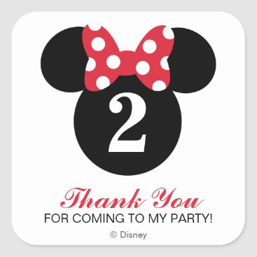 Disney Themed Minnie Mouse | Red & White Birthday Thank You Square Sticker