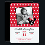 """Minnie Mouse   Red &amp; White Dots Photo Birthday Card<br><div class=""""desc"""">Invite all your family and friends to your daughter&#39;s Minnie Mouse themed Birthday Party with these red and white polka dot birthday invitations. Personalize by adding your favorite photo.</div>"""