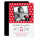 Minnie Mouse   Red &amp; White Dots Photo Birthday Card<br><div class='desc'>Invite all your family and friends to your daughter&#39;s Minnie Mouse themed Birthday Party with these red and white polka dot birthday invitations. Personalize by adding your favorite photo.</div>