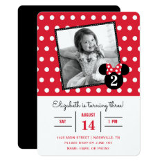 Minnie Mouse | Red & White Dots Photo Birthday Card at Zazzle
