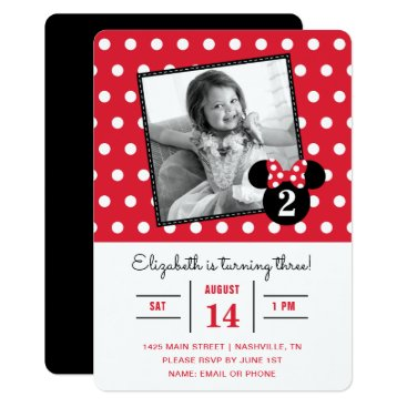 Disney Themed Minnie Mouse | Red & White Dots Photo Birthday Card