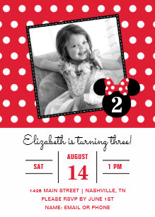 Minnie mouse invitations zazzle minnie mouse red white dots photo birthday invitation filmwisefo