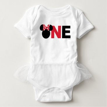 Disney Themed Minnie Mouse | Red & White First Birthday Baby Bodysuit