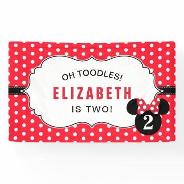Disney Themed Minnie Mouse | Red & White Polka Dot Birthday Banner