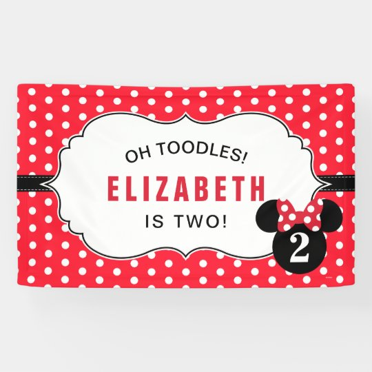 Minnie Mouse Red White Polka Dot Birthday Banner