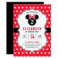 Minnie Mouse | Red & White Polka Dot Birthday Card