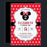 "Minnie Mouse | Red & White Polka Dot Birthday Invitation<br><div class=""desc"">Oh Toodles! Invite all your family and friends to your daughter's Minnie Mouse themed Birthday Party with these red and white polka dot birthday invitations.</div>"