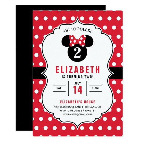 Minnie Mouse Red White Polka Dot Birthday Invitation Zazzle Com