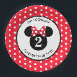 "Minnie Mouse | Red &amp; White Polka Dot Birthday Paper Plate<br><div class=""desc"">Celebrate your daughter&#39;s birthday by throwing a Minnie Mouse themed party with these customizable Red &amp; White Polka Dot paper plates.  Personalize by adding your daughter&#39;s name and age.</div>"