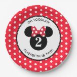Minnie Mouse | Red &amp; White Polka Dot Birthday Paper Plate<br><div class='desc'>Celebrate your daughter&#39;s birthday by throwing a Minnie Mouse themed party with these customizable Red &amp; White Polka Dot paper plates.  Personalize by adding your daughter&#39;s name and age.</div>