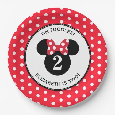 Disney Themed Minnie Mouse | Red & White Polka Dot Birthday Paper Plate