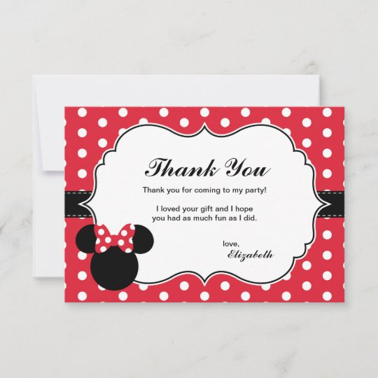 Minnie Mouse Red White Polka Dot Thank You