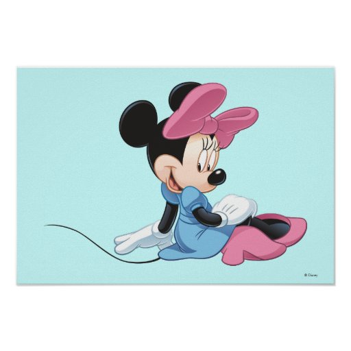 Minnie Mouse Sitting Blue Dress Posters