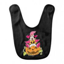 Minnie Mouse Sitting on Jack-O-Lantern Baby Bib
