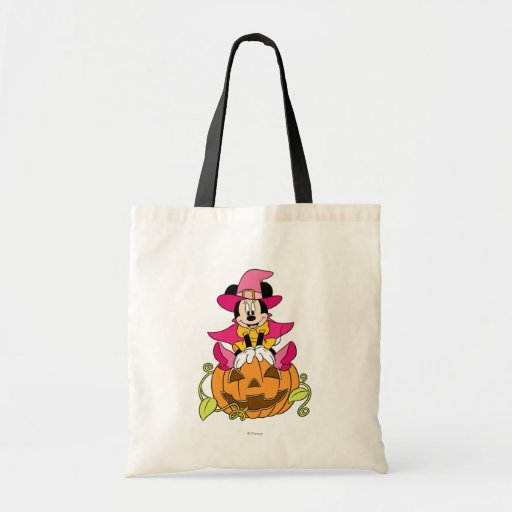 Minnie Mouse Sitting on Jack-O-Lantern Bags