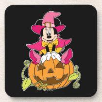 Minnie Mouse Sitting on Jack-O-Lantern Beverage Coaster