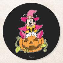 Minnie Mouse Sitting on Jack-O-Lantern Round Paper Coaster