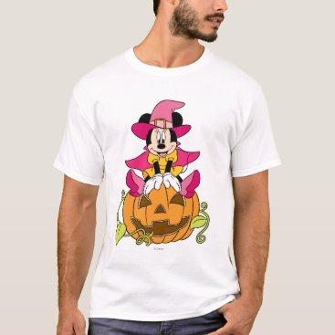 Disney Themed Minnie Mouse Sitting on Jack-O-Lantern T-Shirt