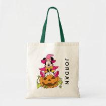Minnie Mouse Sitting on Jack-O-Lantern Tote Bag