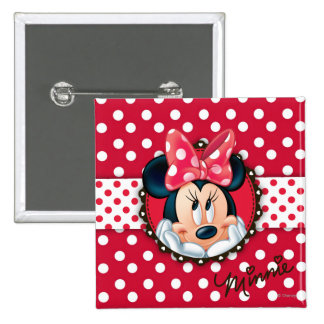 Minnie Mouse | Smiling on Polka Dots Button