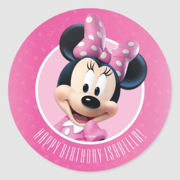 Disney Themed Minnie Pink and White Birthday Classic Round Sticker