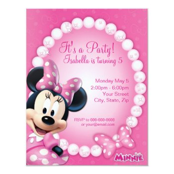 Minnie Pink And White Birthday Invitation by disney at Zazzle