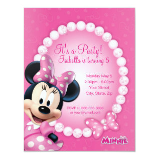 Minnie Pink And White Birthday Invitation at Zazzle