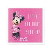 Minnie Pink and White Birthday Paper Napkin