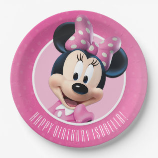 Minnie Pink And White Birthday Paper Plate at Zazzle