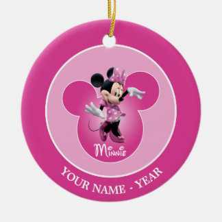 Minnie | Pink Mickey Head Icon Add Your Name Ceramic Ornament