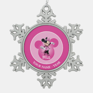 Minnie | Pink Mickey Head Icon Add Your Name Snowflake Pewter Christmas Ornament