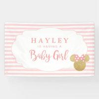 Minnie | Pink Striped Gold Glitter Baby Shower Banner