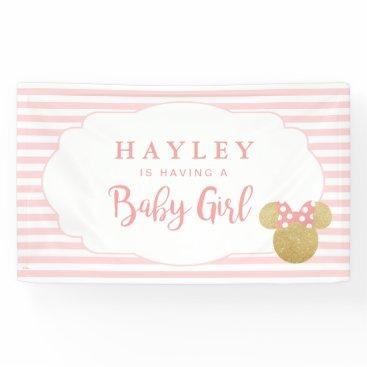 Disney Themed Minnie | Pink Striped Gold Glitter Baby Shower Banner