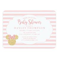 Minnie | Pink Striped Gold Glitter Baby Shower Card