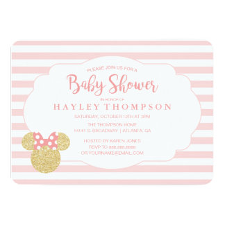 minnie pink striped gold glitter baby shower card