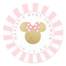 Minnie | Pink Striped Gold Glitter Baby Shower Classic Round Sticker