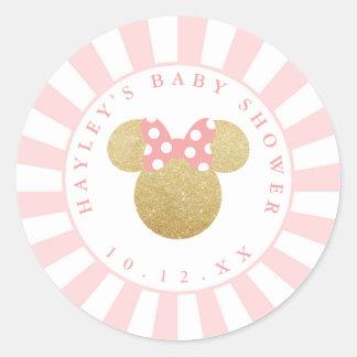 Minnie   Pink Striped Gold Glitter Baby Shower Classic Round Sticker