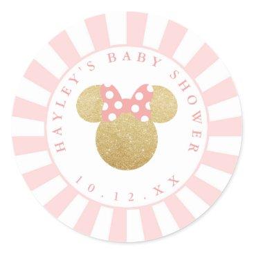 Disney Themed Minnie | Pink Striped Gold Glitter Baby Shower Classic Round Sticker