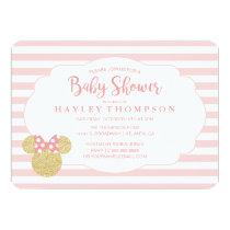 Minnie | Pink Striped Gold Glitter Baby Shower Invitation