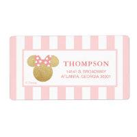 Minnie | Pink Striped Gold Glitter Baby Shower Label