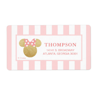 Minnie | Pink Striped Gold Glitter Baby Shower Label