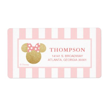 Disney Themed Minnie | Pink Striped Gold Glitter Baby Shower Label