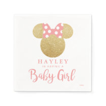 Minnie | Pink Striped Gold Glitter Baby Shower Napkin