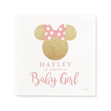 Disney Themed Minnie | Pink Striped Gold Glitter Baby Shower Napkin