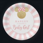 "Minnie | Pink Striped Gold Glitter Baby Shower Paper Plate<br><div class=""desc"">Celebrate your Minnie Mouse themed baby shower with these customizable faux gold glitter pink striped paper plates.  Personalize by adding your name.</div>"