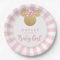Minnie | Pink Striped Gold Glitter Baby Shower Paper Plate